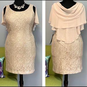 Jessica Howard Gold Lace Sheath Dress NWT